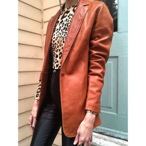 Vintage leather longline blazer